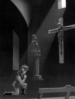 Link praying in front of a cross